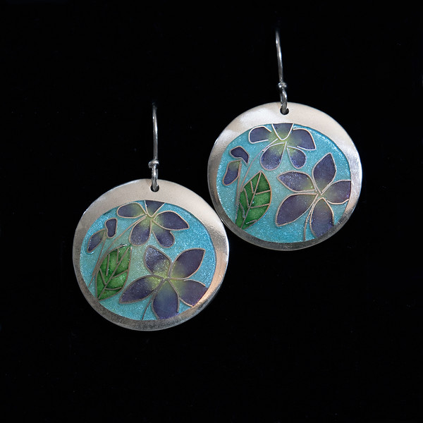 Fine Silver Champlevé and Cloisonné purple flower earrings. Measuring 1 inch in diameter. Drop from earwire is approximately 1 5/8 inches. Sterling silver ear wires and bead. 110.00