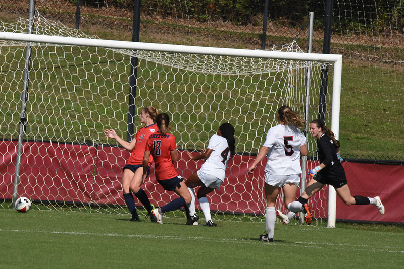 Dayton's goalie (in black) tries unsuccessfully to get back to stop the shot from Davidson's Michele Manceaux. Davidson's Cameron France drew the goalie out of position and then passed the ball to Manceaux.