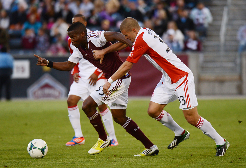 . COMMERCE CITY, CO. - MAY 04 : Danny Mwanga #55 of Colorado Rapids controls the ball against Ryan Richter #33 of Toronto FC in the 1st half of the game at Dick\'s Sporting Goods Park in Commerce City, Colorado. May 4, 2013. (Photo By Hyoung Chang/The Denver Post)