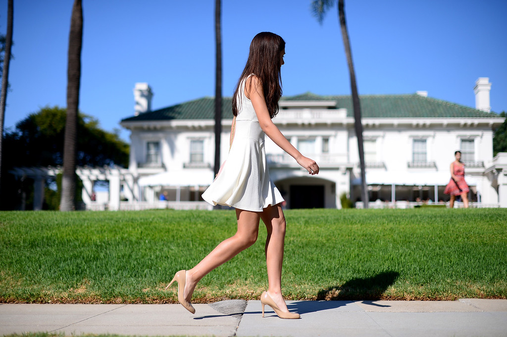 . Lori, 17, of Flintridge Prep, approaches the Tournament House in Pasadena for the Tournament of Roses annual Royal Court Tryouts Saturday, September 14, 2013. A thousand young women from the Pasadena area schools are expected to tryout. Tryouts continue Monday from 3 to 5 p.m.   (Photo by Sarah Reingewirtz/Pasadena Star-News)