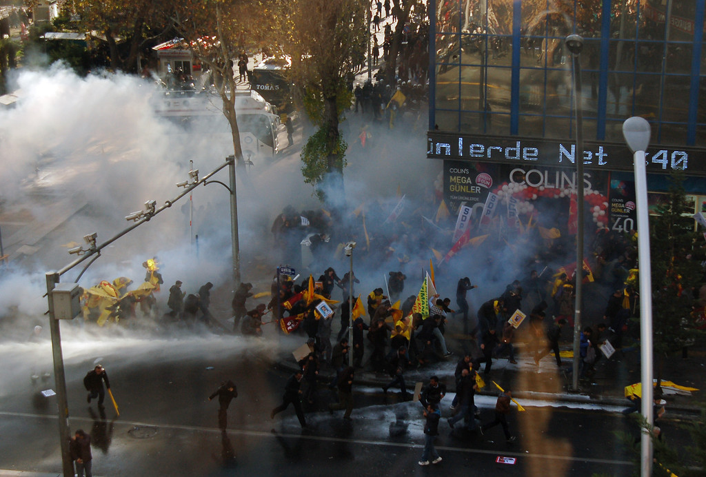 . Riot police use water cannons and pepper gas to disperse thousands of Turkish teachers who were gathered to protest against the government\'s education and economic policies in Ankara, Turkey, Saturday, Nov. 23, 2013.(AP Photo)