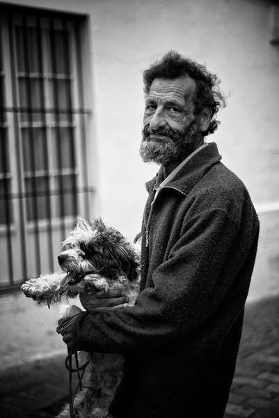 Spanish man and his dog.