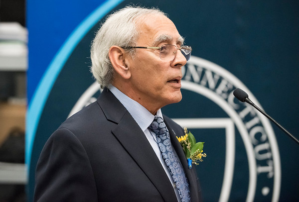 10/03/19 Wesley Bunnell | StaffrrCCSU officially opened the Dr. Antone B. Capitao Biomechanics Laboratory Classroom with a ribbon cutting on Thursday October 3, 2019. Dr. Capitao addresses the audience.