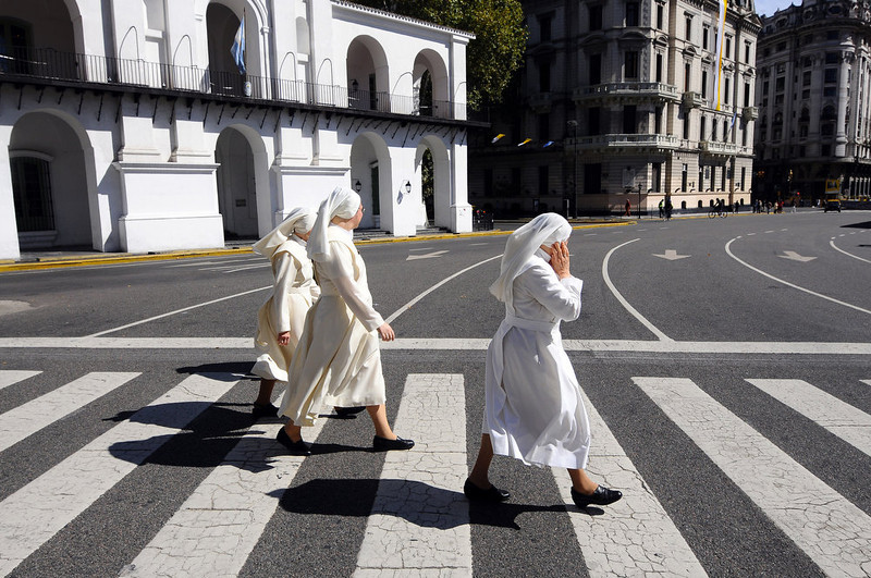 . Nuns head for the Sunday mass at the Metropolitan Cathedral in Buenos Aires on March 17, 2013. Argentina\'s Jorge Mario Bergoglio was elected Pope Francis on Wednesday, becoming the first Latin American pontiff in an astonishing decision that raises hopes of greater openness for the troubled Catholic Church. Maxi Failla/AFP/Getty Images