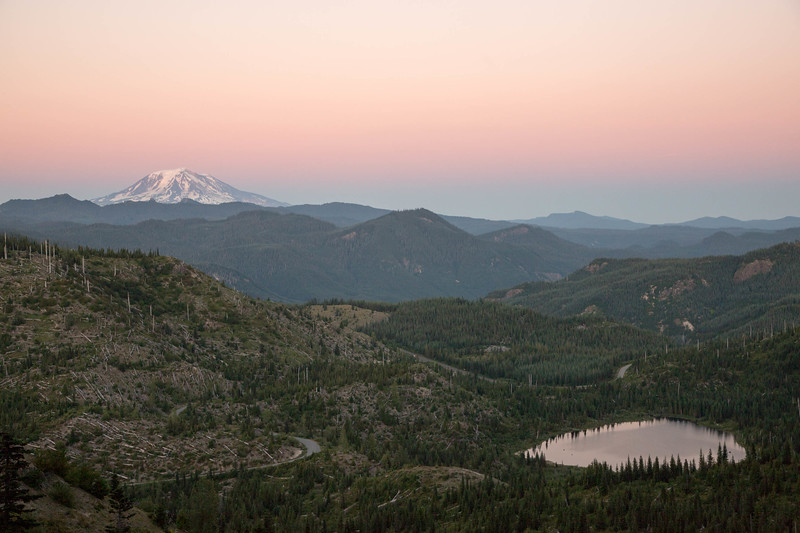 Mt. Adams and Meta Lake after sunset