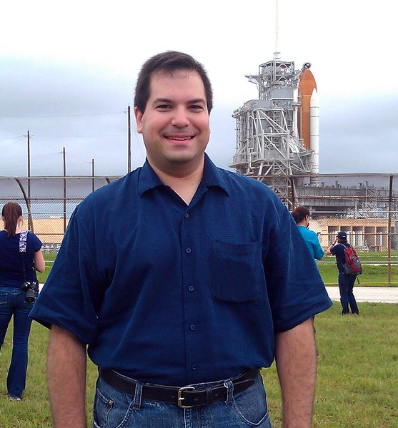 Craig with Space Shuttle Atlantis on Launch Pad 39-A