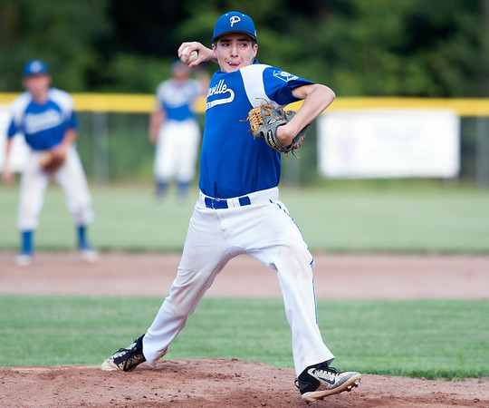 07/16/18 Wesley Bunnell | Staff Bristol defeated Plainville in legion baseball on Monday night at Trumbull Park in Plainville. Alex Grabowski (13).