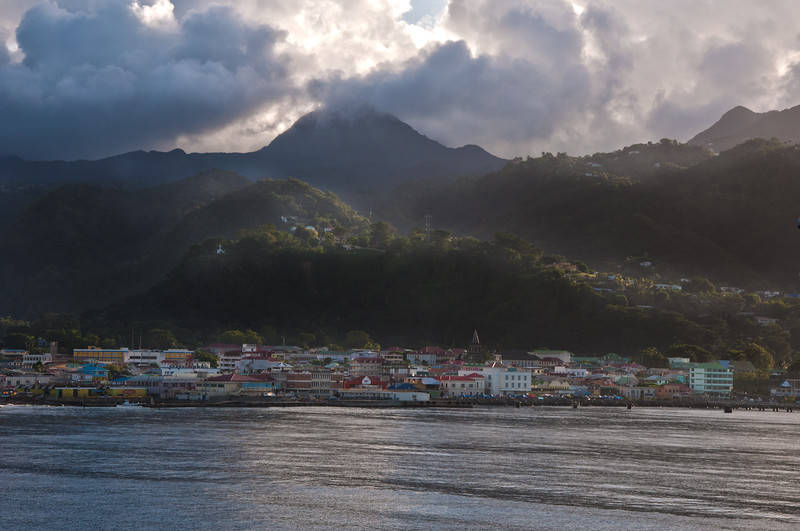 The town Roseau on Dominica comes into view as we arrive.
