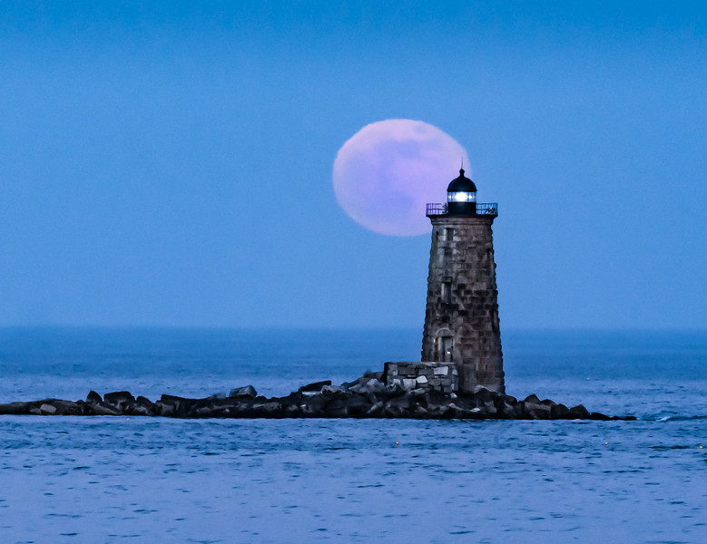 Whaleback Lighthouse with the Flower (May) Moon
