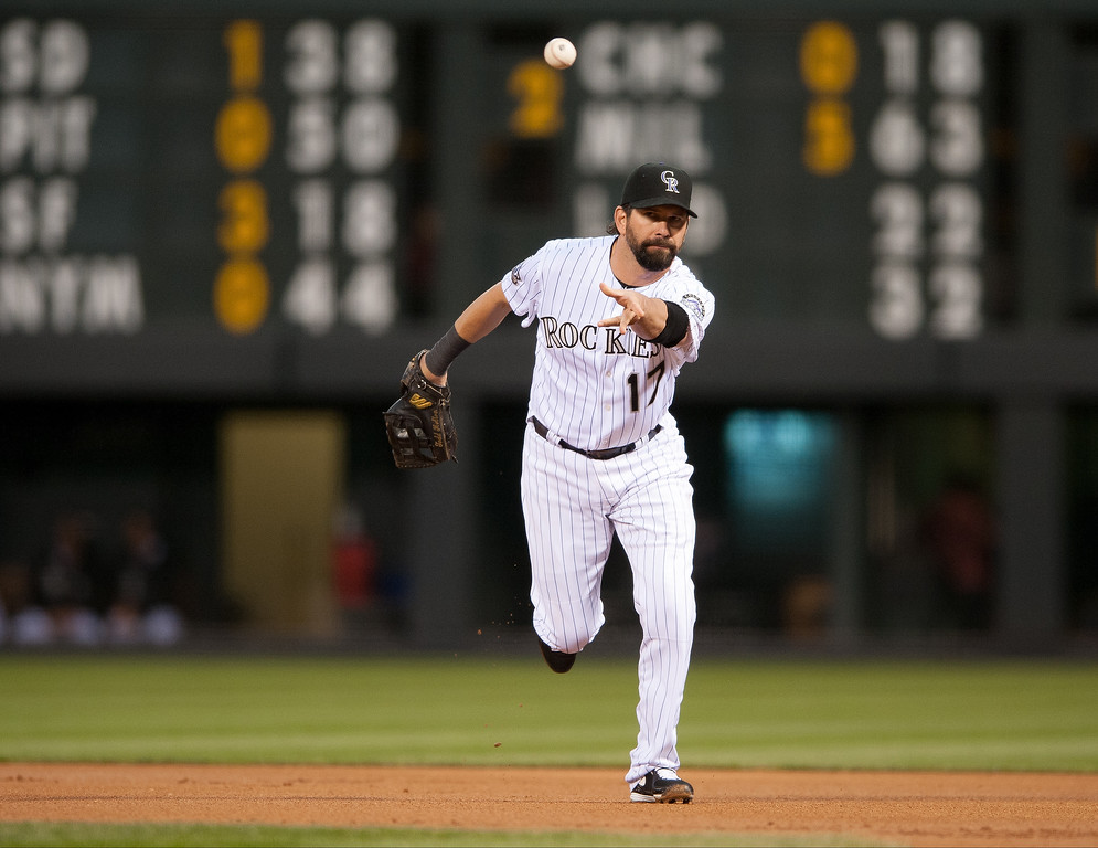 . Todd Helton #17 of the Colorado Rockies throws the ball underhand to the pitcher (not pictured) for an out at first base in the first inning of a game against the St. Louis Cardinals at Coors Field on September 18, 2013 in Denver, Colorado. (Photo by Dustin Bradford/Getty Images)