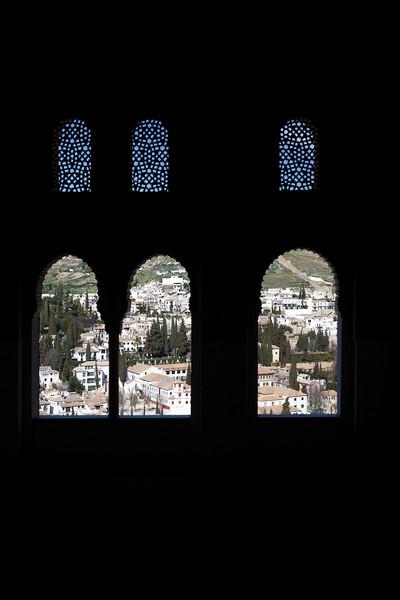 Moorish windows, Alhambra, Granada, Spain