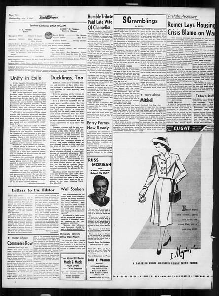 Daily Trojan, Vol. 38, No. 88, March 05, 1947