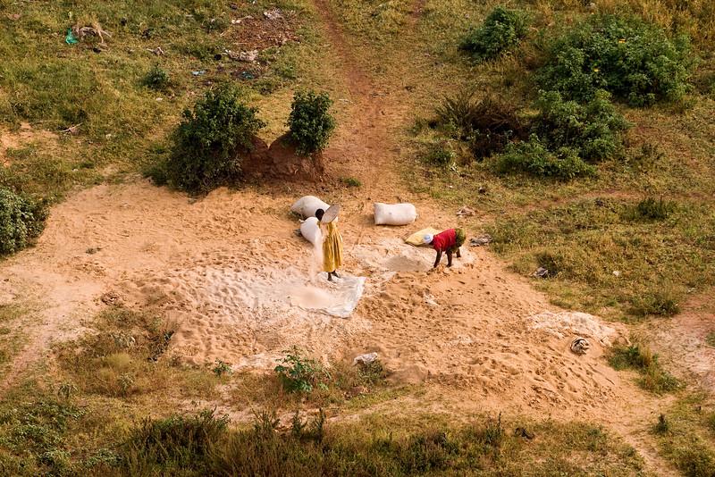 women at work near the idp camp