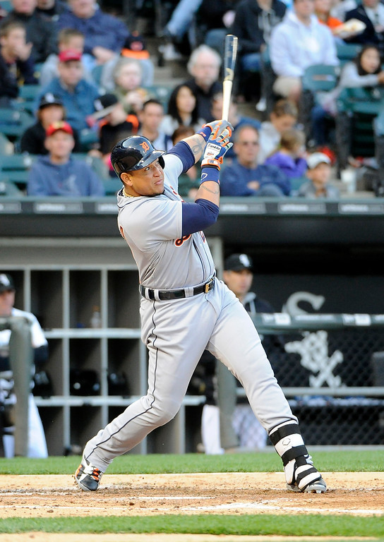 . Detroit Tigers\' Miguel Cabrera hits a two-run home run against the Chicago White Sox during the fifth inning of a baseball game, Saturday, June 6, 2015, in Chicago. (AP Photo/David Banks)