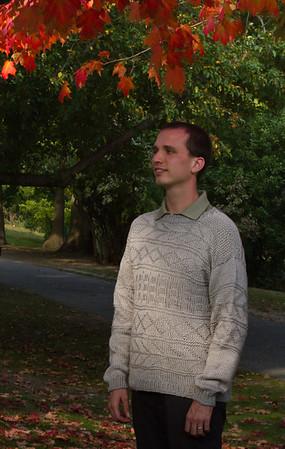 James wearing sweater