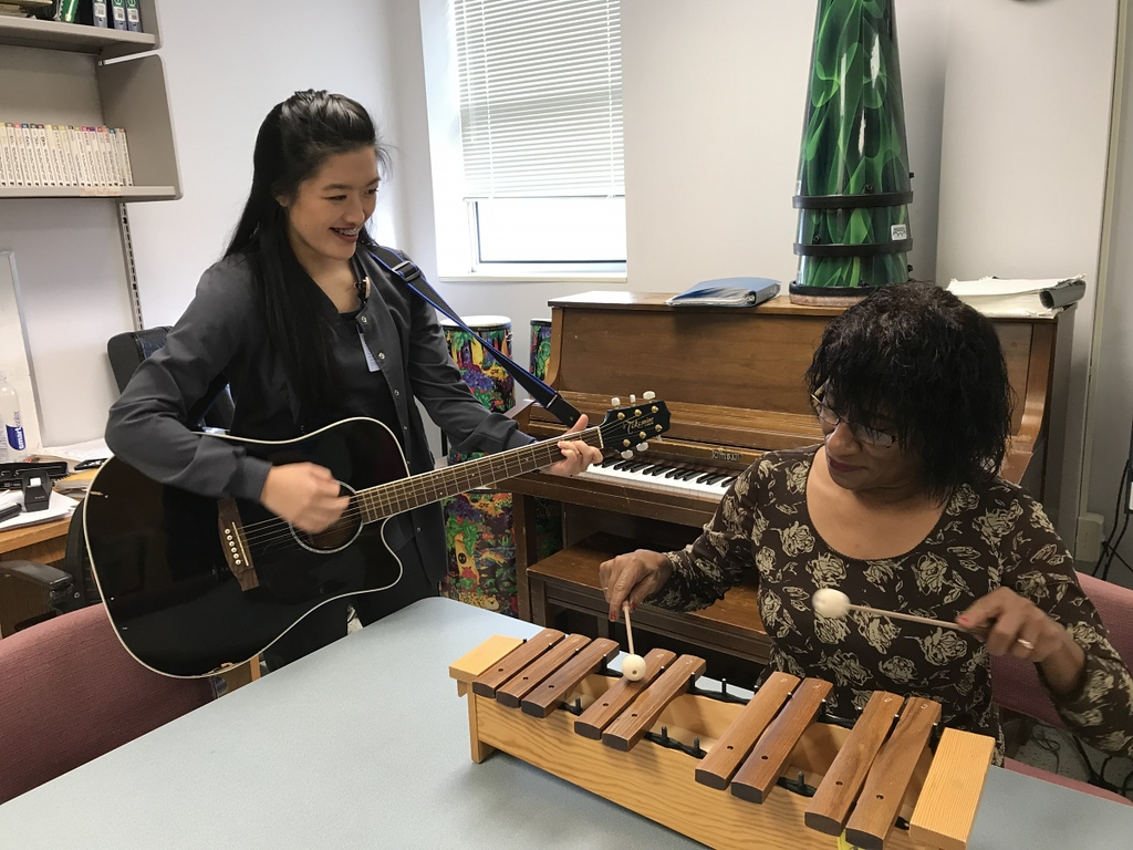 Music therapy student with a client.