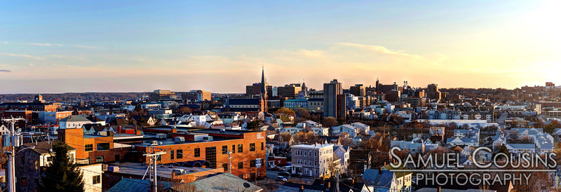 Panorama of Portland Maine in the late afternoon
