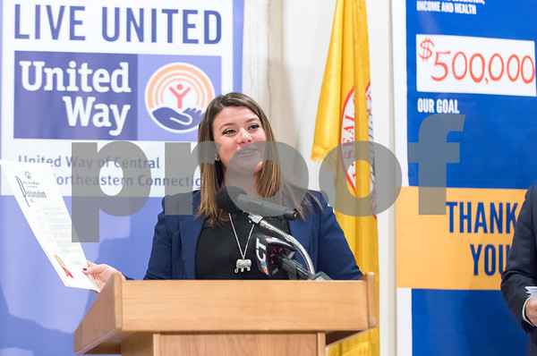 11/21/17 Wesley Bunnell | Staff A conference was held Tuesday morning at New Britain City Hall between the city and The United Way announcing a program where city employees can elect to have a portion of their paycheck automatically donated to The United Way. Mayor Erin Stewart presents a proclamation.