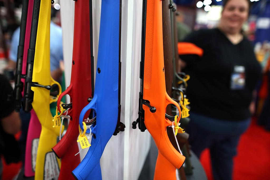 """. HOUSTON, TX - MAY 04:  Savage 22  Single Shot \""""Rascal\"""" youth model rifles are displayed during the 2013 NRA Annual Meeting and Exhibits at the George R. Brown Convention Center on May 4, 2013 in Houston, Texas.  More than 70,000 peope are expected to attend the NRA\'s 3-day annual meeting that features nearly 550 exhibitors, gun trade show and a political rally. The Show runs from May 3-5.  (Photo by Justin Sullivan/Getty Images)"""