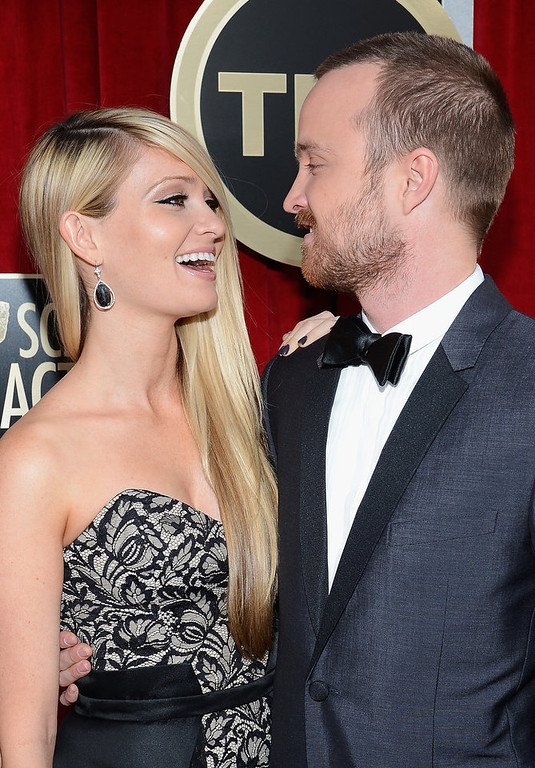 . Actor Aaron Paul (R) and Lauren Parsekian arrive at the 19th Annual Screen Actors Guild Awards held at The Shrine Auditorium on January 27, 2013 in Los Angeles, California.  (Photo by Kevork Djansezian/Getty Images)