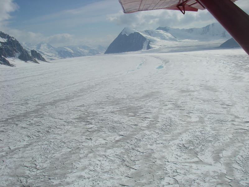 Snow and glaciers are everywhere... Kahiltna glacier, one of five big Denali's glaciers.