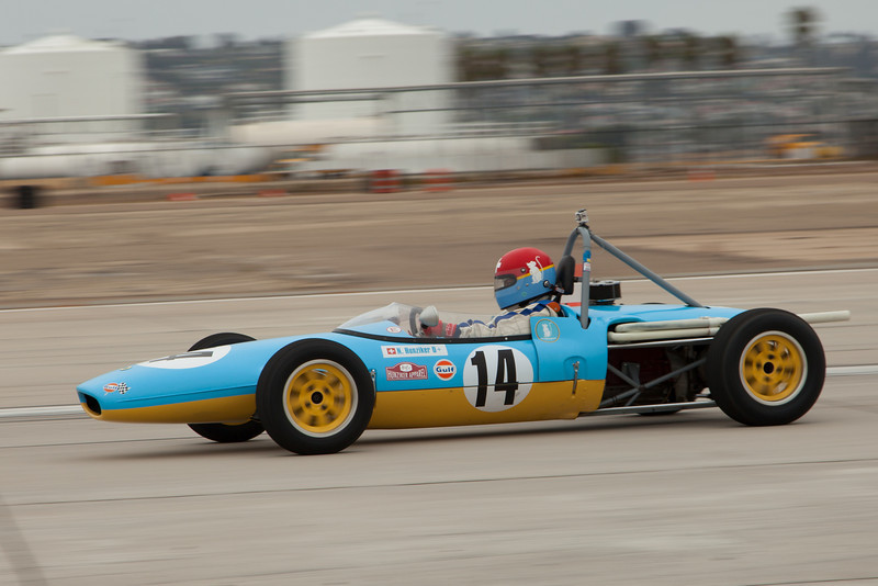 Artist Nicolas Hunziker in his 1969 Lotus 51C.