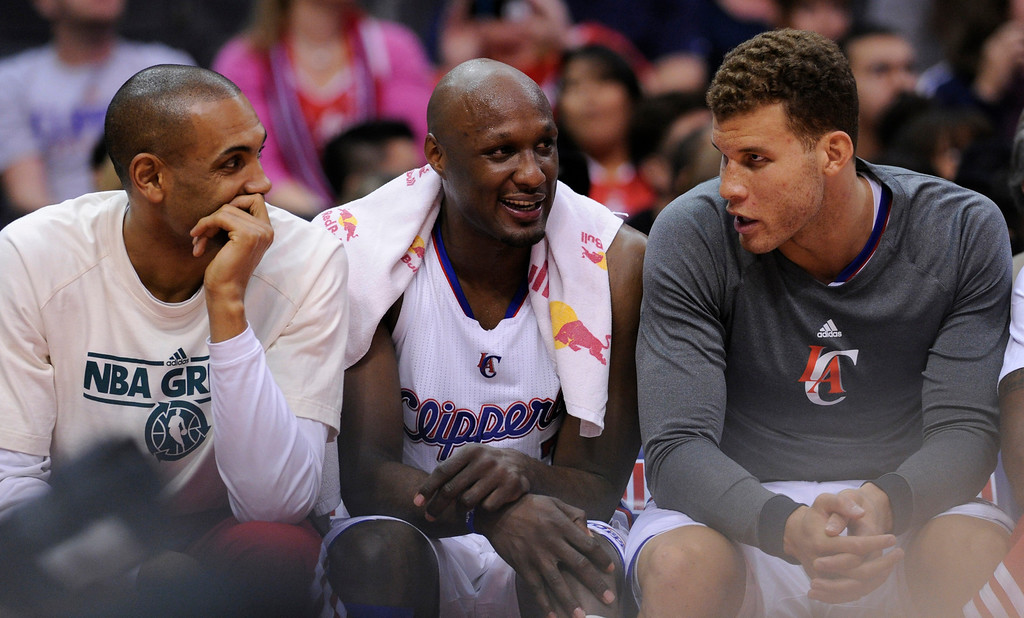 . Clippers Grant Hill, Lamar Odom and Blake Griffin sat out much of the 4th quarter at Staples Center in Los Angeles, CA 4/10/2013 (John McCoy/Los Angeles Daily News)