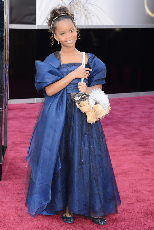 . Actress Quvenzhane Wallis arrives at the Oscars at Hollywood & Highland Center on February 24, 2013 in Hollywood, California.  (Photo by Jason Merritt/Getty Images)