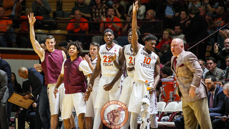 The Virginia Tech bench celebrates another three point shot by the Hokies. (Mark Umansky/TheKeyPlay.com)