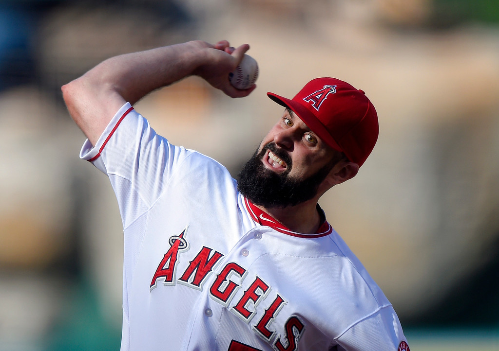 . Los Angeles Angels starting pitcher Matt Shoemaker throws to the plate during the first inning of a baseball game against the Detroit Tigers, Sunday, May 31, 2015, in Anaheim, Calif. (AP Photo/Mark J. Terrill)