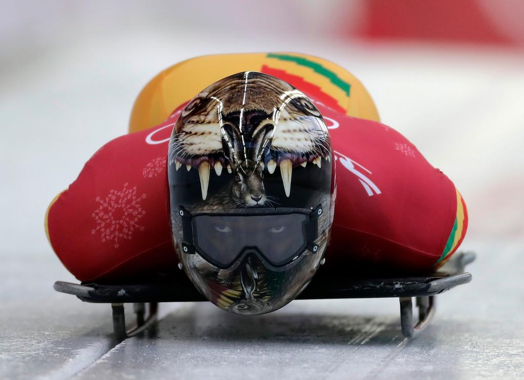 . Akwasi Frimpong of Ghana starts his practice run during the men\'s skeleton training at the 2018 Winter Olympics in Pyeongchang, South Korea, Wednesday, Feb. 14, 2018. (AP Photo/Wong Maye-E)