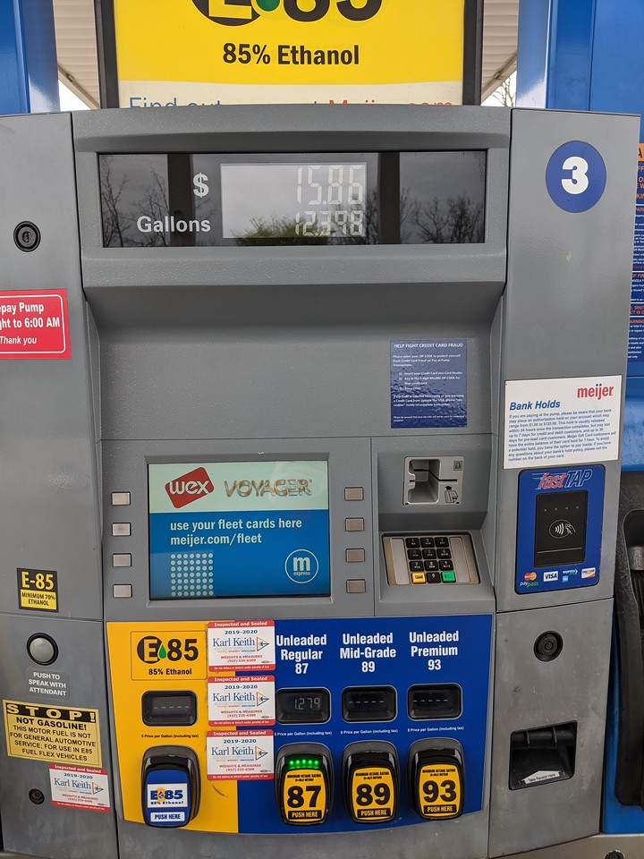 Gasoline purchase (12.4 gallons of 87 octane for $15.86), Meijer, Apr 19, 2020