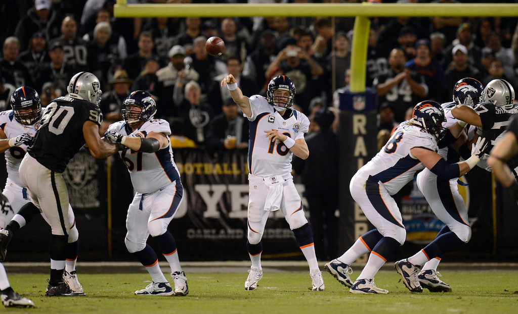 . Denver Broncos quarterback Peyton Manning #18 throws a pass down field during the first quarter against the Oakland Raiders  at the O.co Coliseum, in Oakland , CA December 06, 2012.      Joe Amon, The Denver Post
