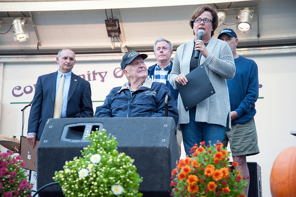 09/21/18 Wesley Bunnell | Staff 2018 Bristol Hometown Hero Ed Pelkey looks up at Mayor Ellen Zoppo-Sassu reads his award presentation.