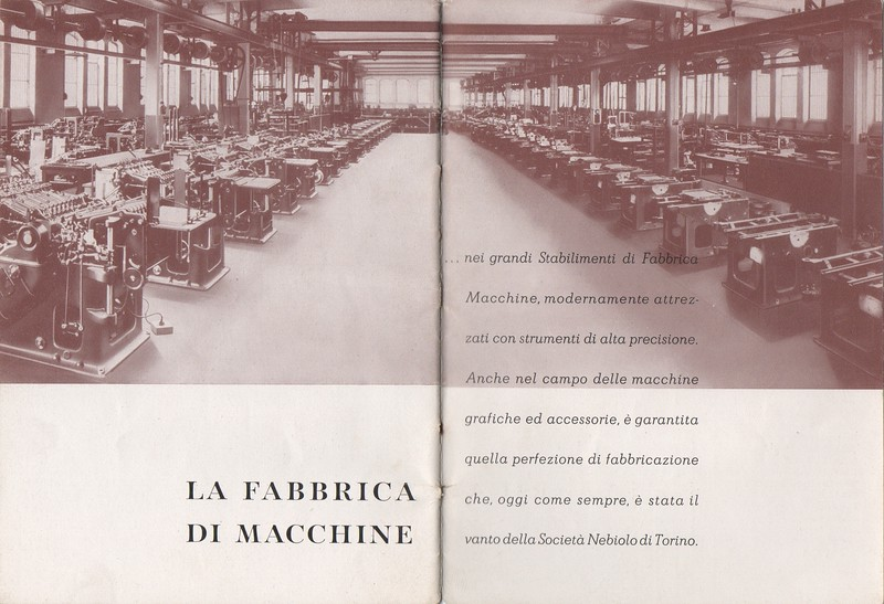 View of the Nebiolo machine factory in Via Pier Carlo Boggio. Assembly line of the Neby cylinder press. End of the 1930s.