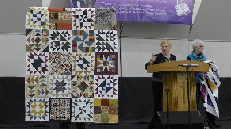 Marsh Rosenberger made this from blocks given to her for various reasons.  The top is going to Bobbi for Chemo Quilts.