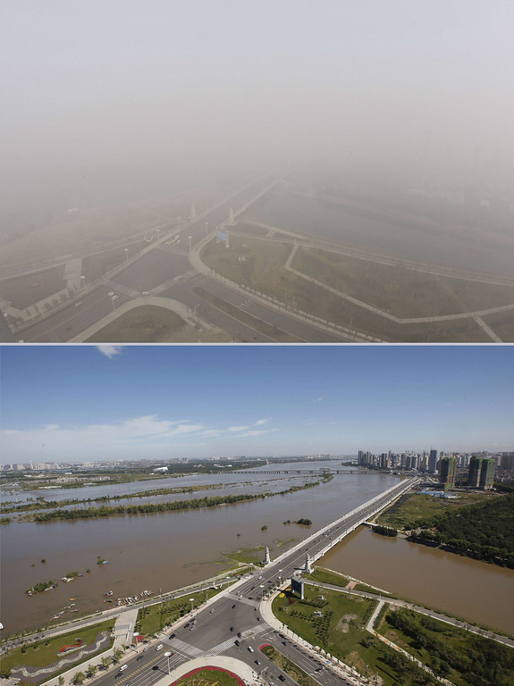 . This combination of photos shows streets under heavy smog in Harbin, northeast China\'s Heilongjiang province, on October 22, 2013 (top) and in the same place on August 27 (bottom).    AFP PHOTOSTR/AFP/Getty Images