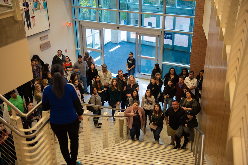 Prospective students gather in the Island Hall.