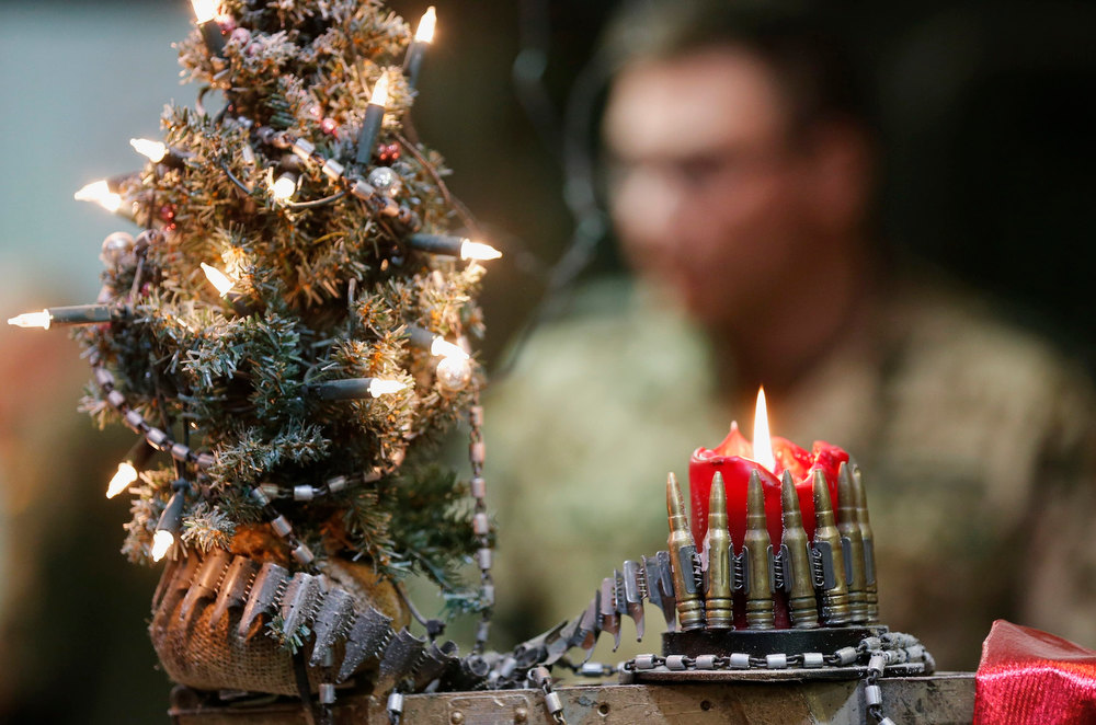 . Christmas decorations made of cartridges are pictured inside a garage of the German Bundeswehr armed forces camp Marmal, near Mazar-e-Sharif, northern Afghanistan December 15, 2012.      REUTERS/Fabrizio Bensch