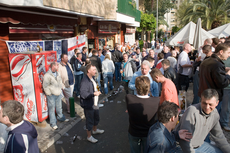 Tottenham fans drinking on Seville's streets, Spain