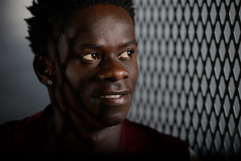 . COMMERCE CITY, CO - FEBRUARY 11: Dominique Badji poses for a portrait during Colorado Rapids media day on Thursday, February 11, 2016. (Photo by AAron Ontiveroz/The Denver Post)