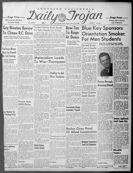 Daily Trojan, Vol. 37, No. 89, March 21, 1946
