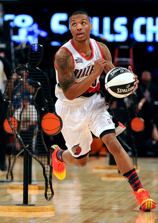 . Damian Lillard of the Portland Trail Blazers participates in the skills challenge during NBA basketball All-Star Saturday Night, Feb. 16, 2013, in Houston. (AP Photo/Pat Sullivan)