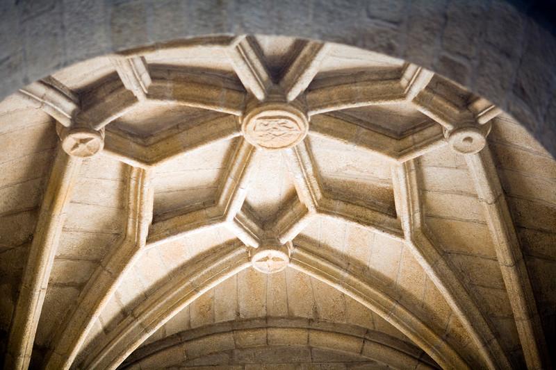 Star vault on the ceiling of Santiago church, Caceres, Spain