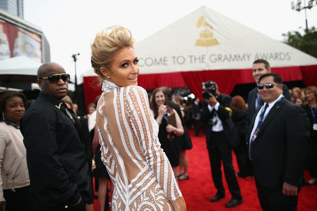 . Paris Hilton attends the 56th GRAMMY Awards at Staples Center on January 26, 2014 in Los Angeles, California.  (Photo by Christopher Polk/Getty Images for NARAS)