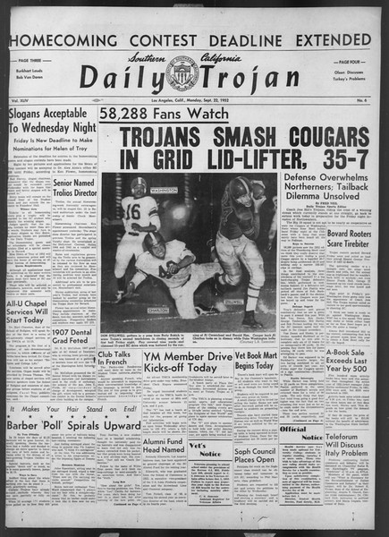 Daily Trojan, Vol. 44, No. 6, September 22, 1952