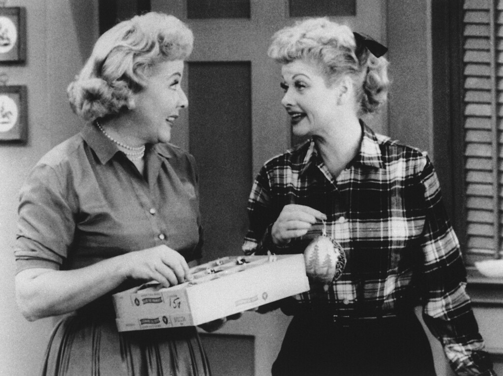 ". Lucy, played by Lucille Ball, right, and Ethel, played by Vivian Vance, are shown in a scene on television\'s ""I Love Lucy,\"" date unknown.  (AP Photo)"