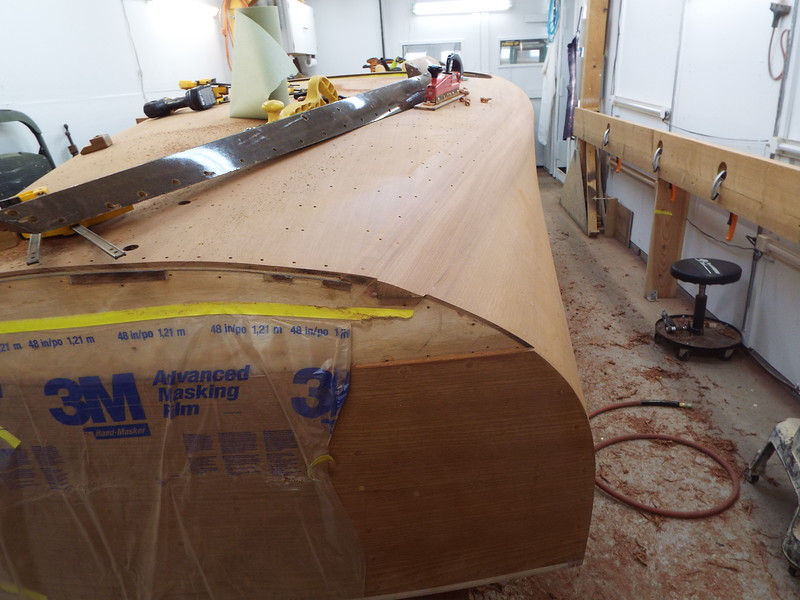 Rear starboard view of the cover boards shaped before final sanding.