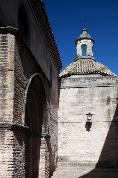 Side view of Santa Marina church (13th century), Seville, Spain