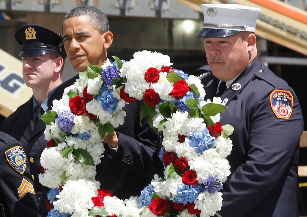 . President Barack Obama prepares to lay a wreath at the National Sept. 11 Memorial at Ground Zero in New York, Thursday, May 5, 2011. (AP Photo/Charles Dharapak)